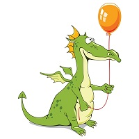 a dragon with a balloon