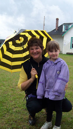 Charlotte and Andrea Meier at the Northern Canadian Children's Festival in Prince George, BC 'Singin' in the Rain'