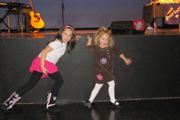 Brianna and Brooklyn getting ready to dance at Charlotte's Concert in North Delta, BC, January 23, 2010