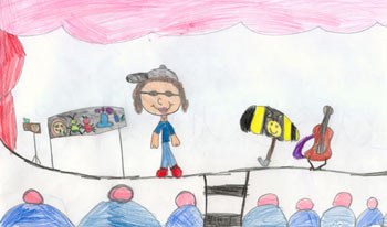 Charlotte on stage in Kamloops, BC by Cassandra of Mrs.Willner's class, Kay Bingham School