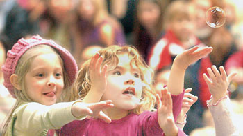 Children join in with 'I am a Bubble' at Charlotte's November concert at Lansdowne Centre, Richmond, BC