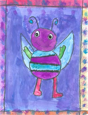 Here is a painting of a Hug Bug by Sadie, a grade five student at Savona Elementary School in BC. Her Hug Bug is called 'Violet.'