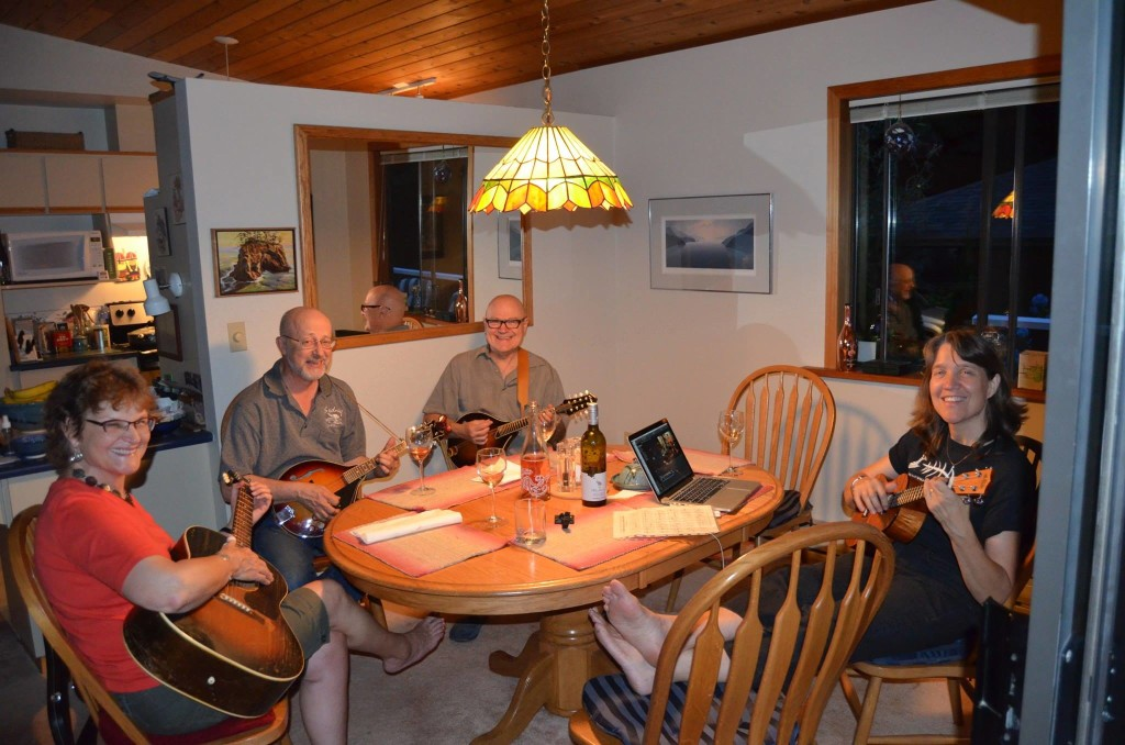 """We are preparing to record a new CD, """"Diamonds By the Sea""""; but this was just a late-night jam session! From our smiles, you can tell that making music is what we love! L-R: Charlotte, David Jonsson, Lee Oliphant, and Linnea Good. [Photo Credit: Linnea Good]"""