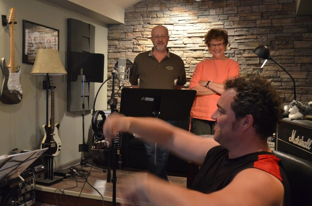 Matt, David Jonnson and Charlotte in the studio. [Photo Credit: Linnea Good]