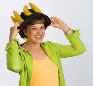 Charlotte Diamond in her Banana Hat