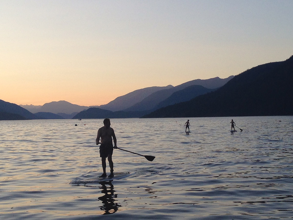 Thomas and my grandsons paddleboarding in Sechelt