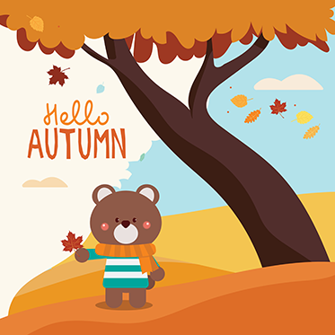 Hello Autumn - Bear Holding Maple Leaf Standing Under a Tree with Leaves Falling